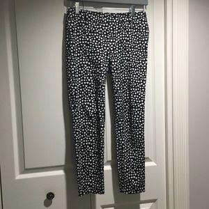 J Crew Dark Brown & White Xoxo Pants size 0